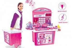 Hračka G21 Detská kuchynka s príslušenstvom v kufri ružová