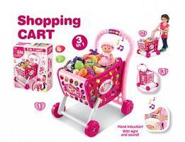 Hračka G21 Nákupný košík s melódiou s príslušenstvom ružový
