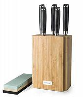 Sada nožov G21 Gourmet Damascus v bambusovom bloku 5 ks + brúsny kameň