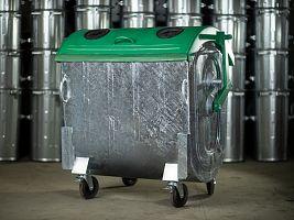 Kovový kontajner na separovaný zber skla žiarovo zinkovaný 1100 l FEREX