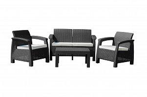 Záhradný nábytok MOANA FAMILY imitácia ratanu, čierna (2+1+1)
