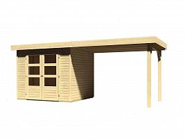 Drevený domček KARIBU ASKOLA 2 + prístavok 280 cm (77723) natur