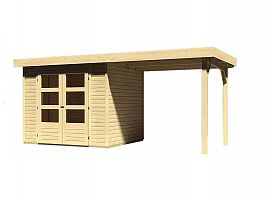 Drevený domček KARIBU ASKOLA 3 + prístavok 240 cm (73246) natur
