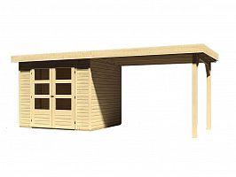 Drevený domček KARIBU ASKOLA 3 + prístavok 280 cm (77726) natur