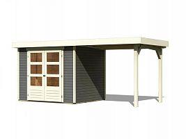 Drevený domček KARIBU ASKOLA 4 + prístavok 240 cm (92070) tm. sivý