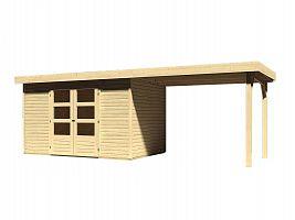 Drevený domček KARIBU ASKOLA 4 + prístavok 280 cm (77733) natur