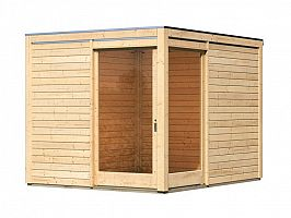 Drevený domček KARIBU QUBU ECK 83314 natur