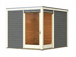 Drevený domček KARIBU QUBU ECK 83315 tm. sivý