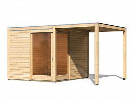 Drevený domček KARIBU QUBU ECK 83316 natur + prístavok 2 m