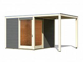 Drevený domček KARIBU QUBU ECK 83317 tm. sivý + prístavok 2 m