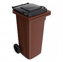 120 l hnedá smetná nádoba FEREX - čierny poklop