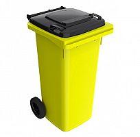 120 l žltá smetná nádoba FEREX - čierny poklop