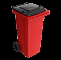 120 l červená smetná nádoba FEREX - čierny poklop
