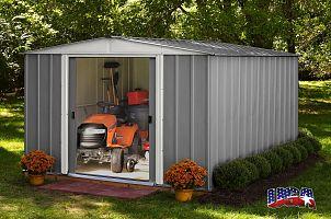 Plechový záhradný domček ARROW DRESDEN 1012 sivý