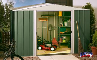 Plechový záhradný domček ARROW DRESDEN 1012 zelený