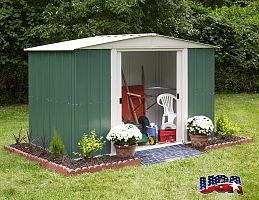Plechový záhradný domček ARROW DRESDEN 106 zelený