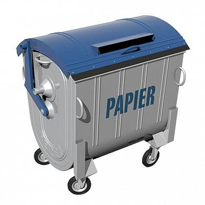 Kovový kontajner na separovaný zber papiera žiarovo zinkovaný 1100 l FEREX