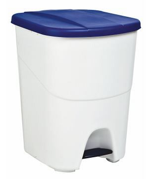 Plastový odpadkový kôš s modrým vekom