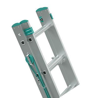 Výsuvný hliníkový rebrík ovládaný lanom 2 x 16