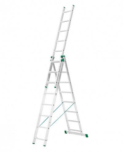 Trojdielny hliníkový rebrík 3 x 9 stupňov